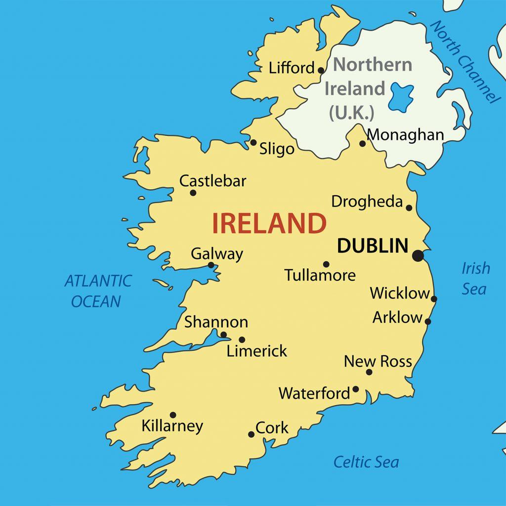 Du học Ireland - vị trí trên bản đồ