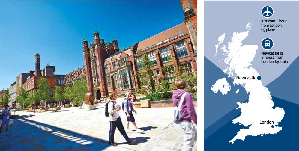 Vị trí của trường đại học Newcastle