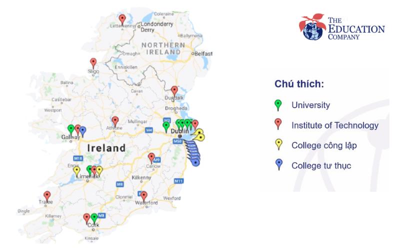 Bản đồ các trường tại Ireland